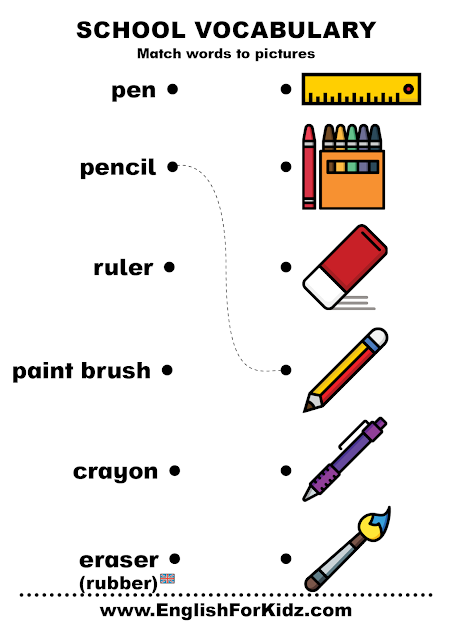 Free school vocabulary worksheet - word to picture matching exercises