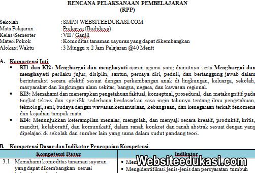 RPP Prakarya Kelas 7 Kurikulum 2013 Revisi 2019 Lengkap