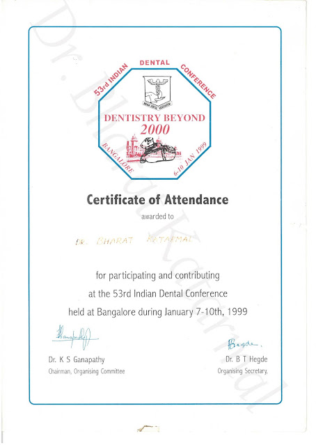 Certificate Awarded to Dr. Bharat Katarmal for Attending 53rd Indian Dental conference at Bangalore