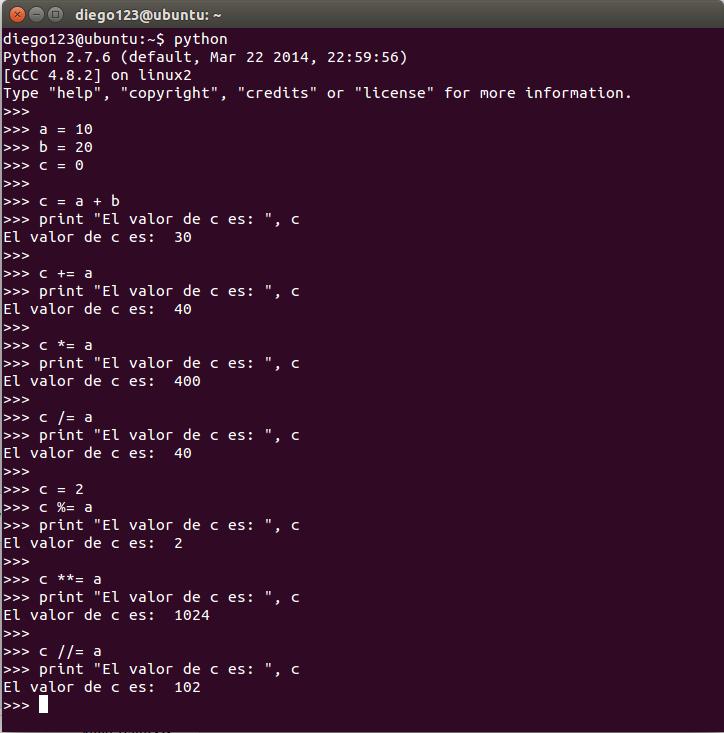 Mi diario Python: Operadores basicos en python