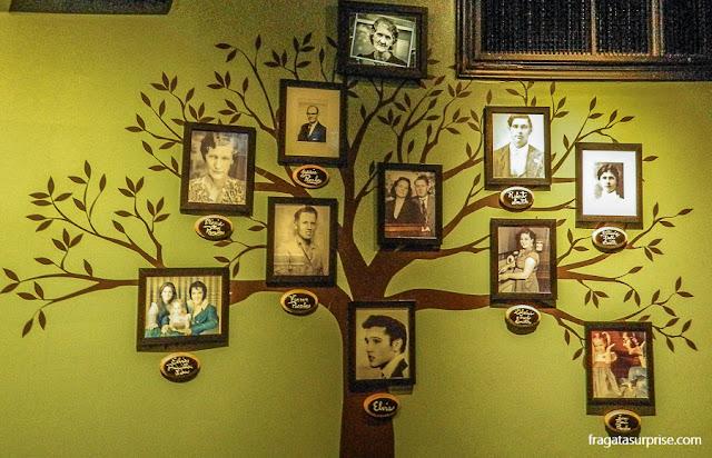 Árvore genealógica dos Presley, no pavilhão dos Troféus de Graceland