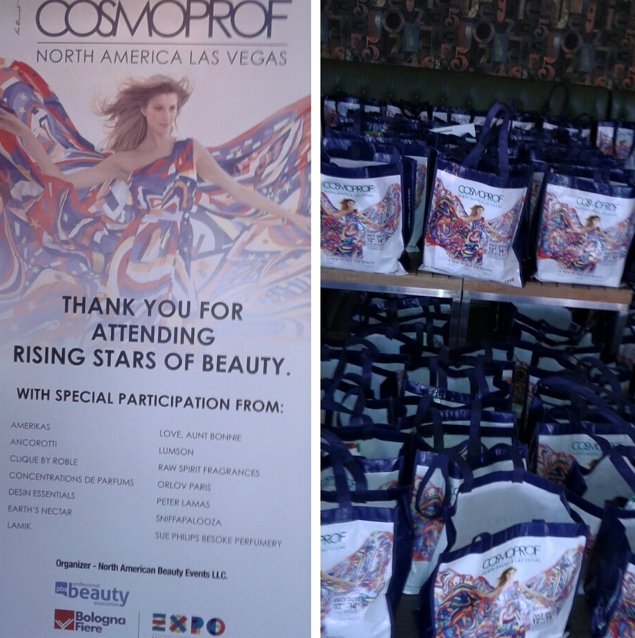 Cosmoprof Rising Stars of Beauty Signage and Swag Bags