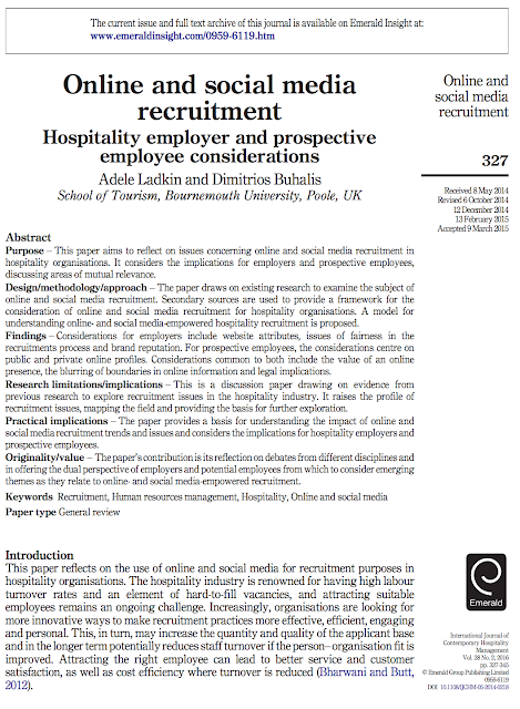 Social media and recruitment in tourism and hospitality