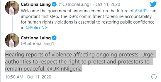 #EndSARS: Respect rights of protesters - UK tells FG