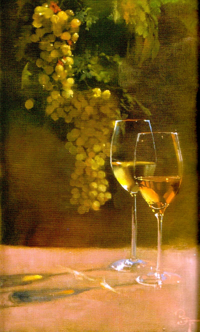 a Bernie Fuchs illustration of wine and grapes