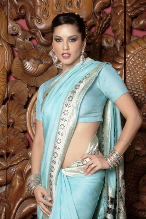 Sunny Leone Nude Green Saree