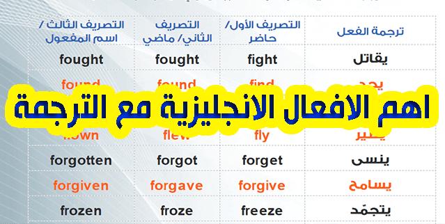 اهم الافعال الانجليزية PDF مع الترجمة للعربية