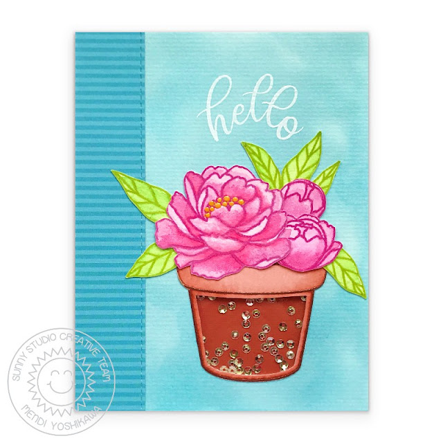 Sunny Studio Blog: Peony & Terracotta Pot Sequin Shaker Card (using Potted Rose & Pink Peonies Stamps, Striped Silly Paper)