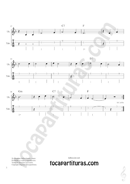 Ukelele Tablatura y Partitura Fácil de Tutaina Villancico Punteo Tablature Sheet Music for Ukelele Tabs Music Scores