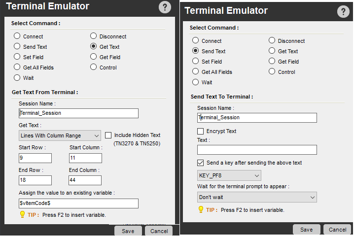 get data from mainframe multiple pages using terminal emulator in Automation anywhere
