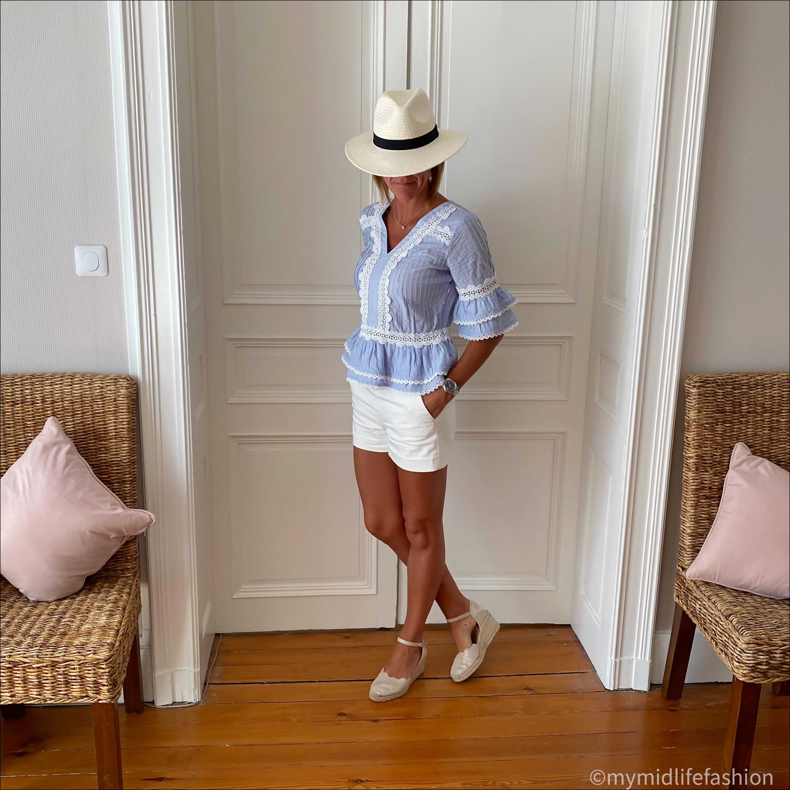 my midlife fashion, zara Panama hat, j crew broderie top, zara shorts, carl scrap Brittany metallic wedges