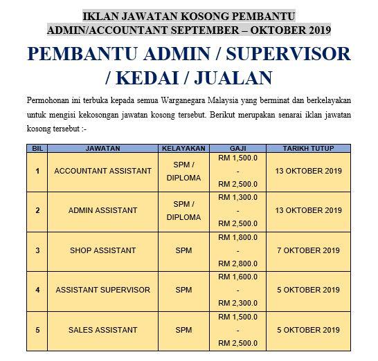 Permohonan Jawatan Kosong Pembantu Admin / Supervisor / Sales Ambilan September - Oktober 2019