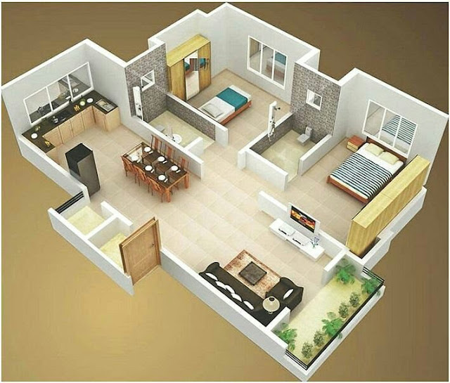 Small House Plans With 2 bedroom 3D Photos
