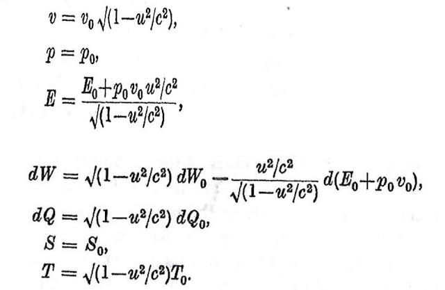 "Summary equations (Source: R. Tolman, ""Relativity Thermodynamics and Cosmology, 1934)"
