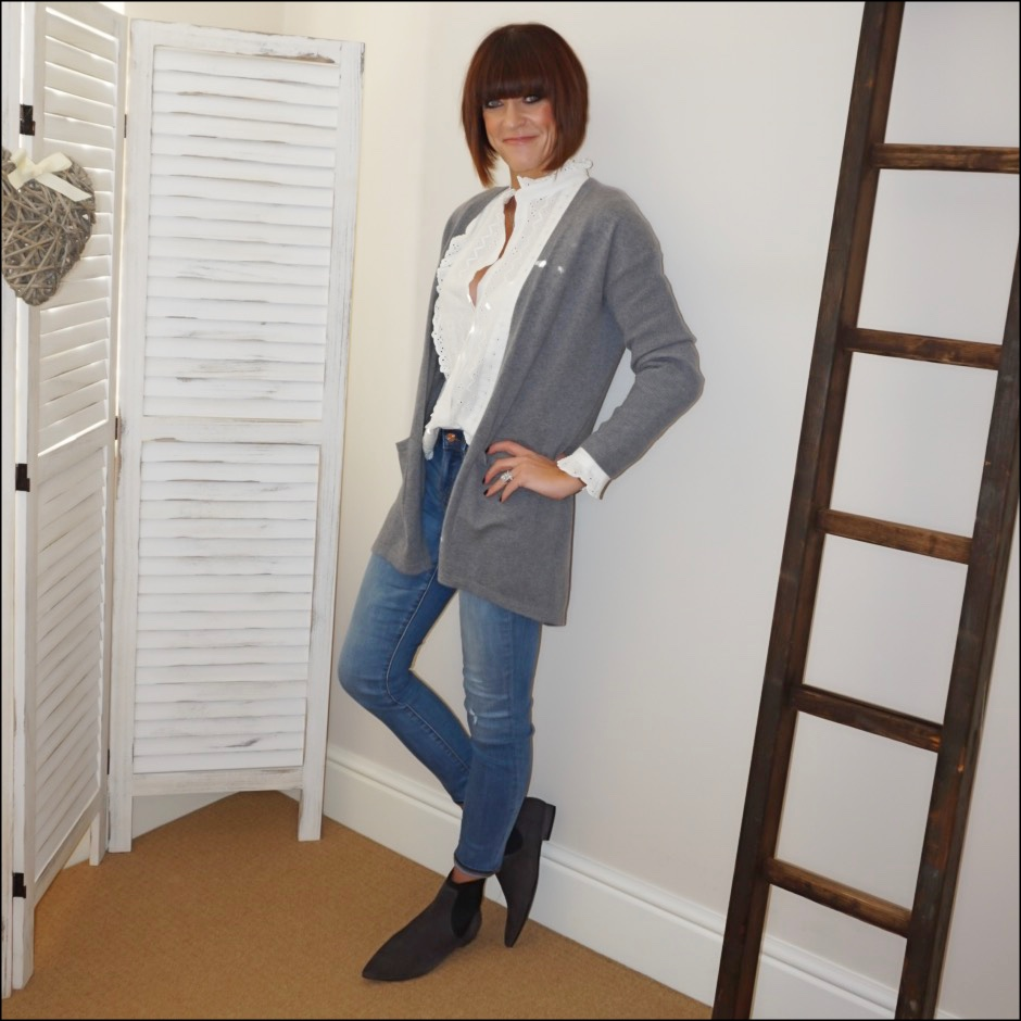 my midlife fashion, zara broderie anglaise lace blouse, marks and spencer longline pure cashmere cardigan, j crew toothpick jeans, madeleine suede flat ankle boots