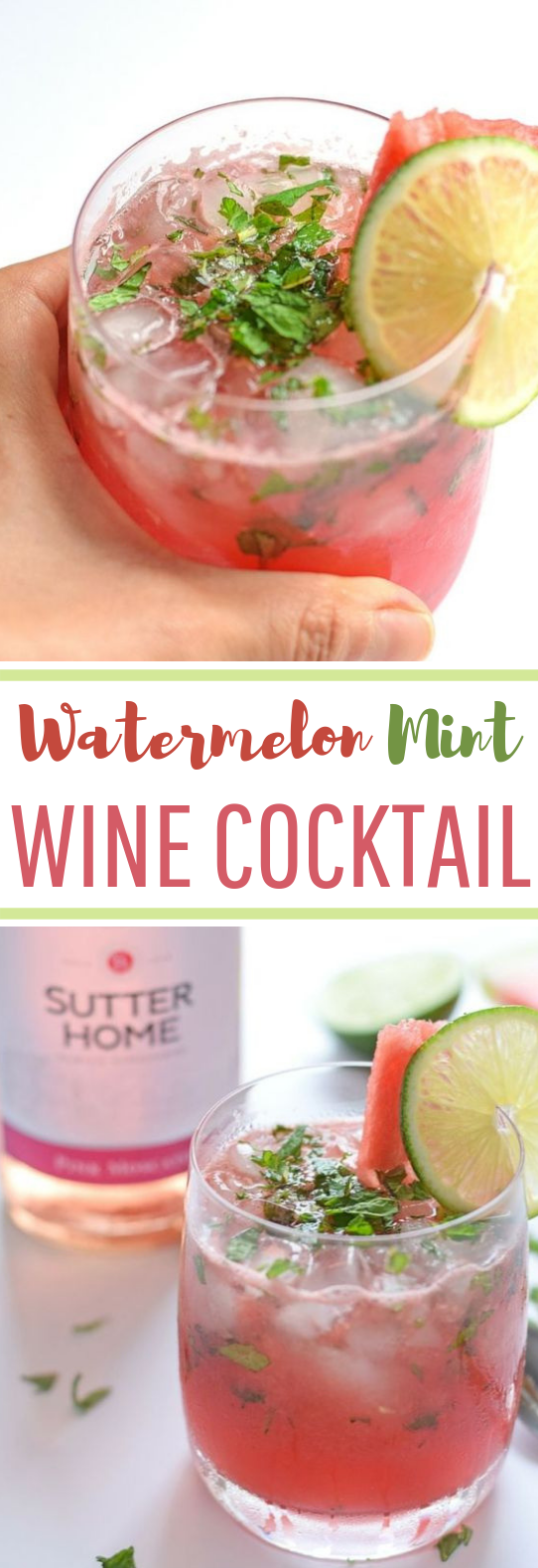 Watermelon Mint Wine Cocktail #summer #cocktail