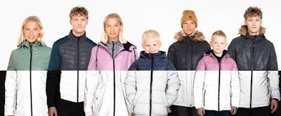 Klädmodeller på rad med nya kollektionen som visar hur kläderna ser ut både i ljus och i mörker.