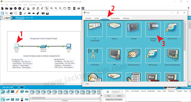 Cara PING dengan CMD di Cisco Packet Tracer