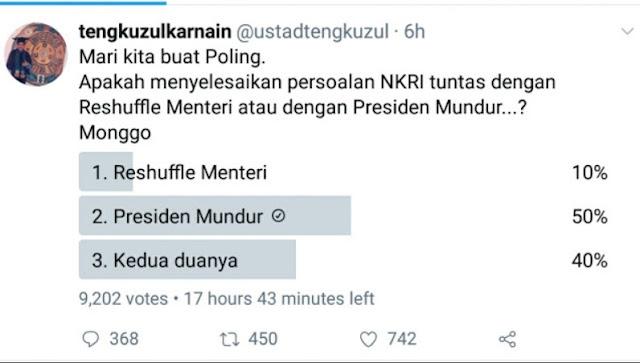 Bikin Polling, Wasekjen MUI: Reshuffle Menteri atau Presiden Mundur? Lihat Hasilnya
