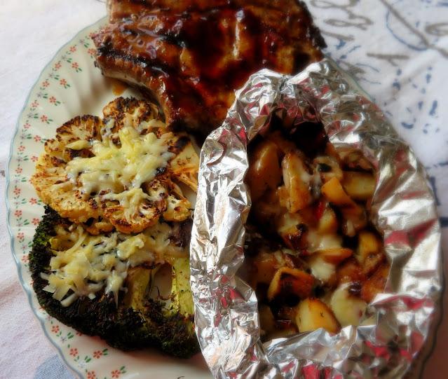 Grilled Cauliflower & Broccoli Cheese