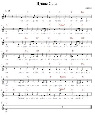 Not Balok Lagu Hymne Guru Asli