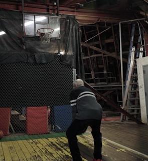Imagineer Bob Gurr Playing Basketball Inside the Disneyland Matterhorn