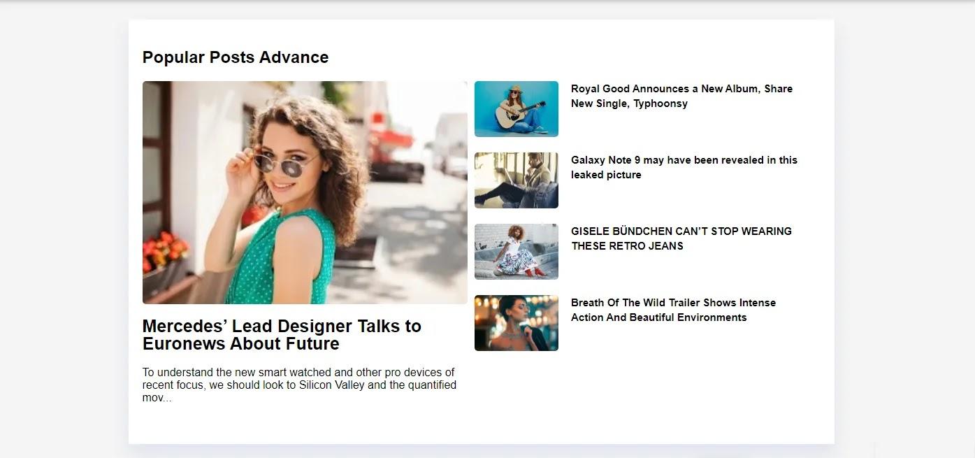 Nuevo diseño del Gadget Entradas populares Versión Advance One