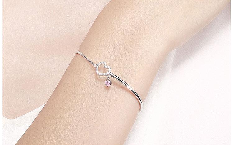 浪漫滿心 925純銀鋯石可調式手鍊(環)