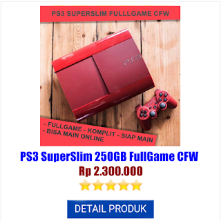 Jual Konsol Playstation3 PS3 Superslim 250gb Fullgame CFW 1Stik Harga Spesial Rental Murah di WikondaShop Playstation