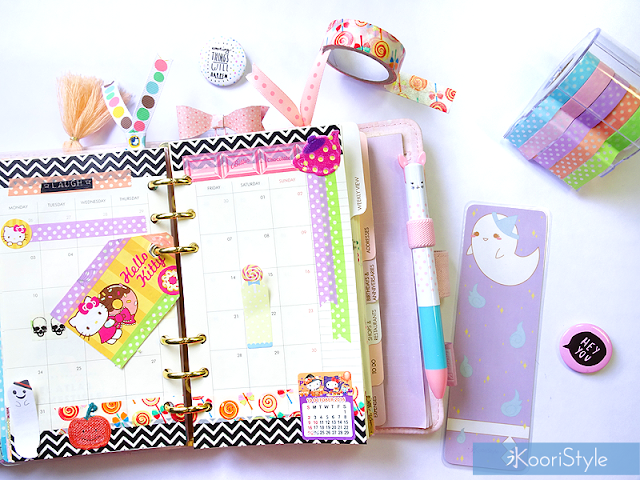 Tutorial, DIY, Handmade, Crafts, Kawaii, Cute, Paper, Koori Style, Koori Style, Koori, Style, Planner, Planning, Stationery, Deco, Decoration, Time Planner, Kikki K, Filofax, Washi, Deco, Tape, Monthly, Journal, Agenda, Stickers, Medium, Live Bright, Ring Planner, Plan With Me, Set Up, Sticky Note, 和紙テープ, プランナー, 플래너, October, Octubre