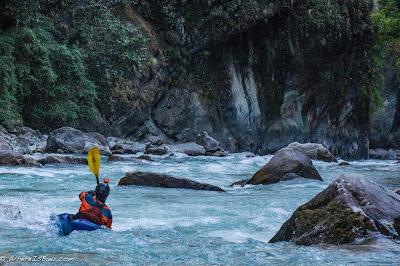 Garen Stephens heading into the unknown , blue river, upper marsyangdi river, nepal himalayas kayak werner paddles, WhereIsBaer.com Chris Baer