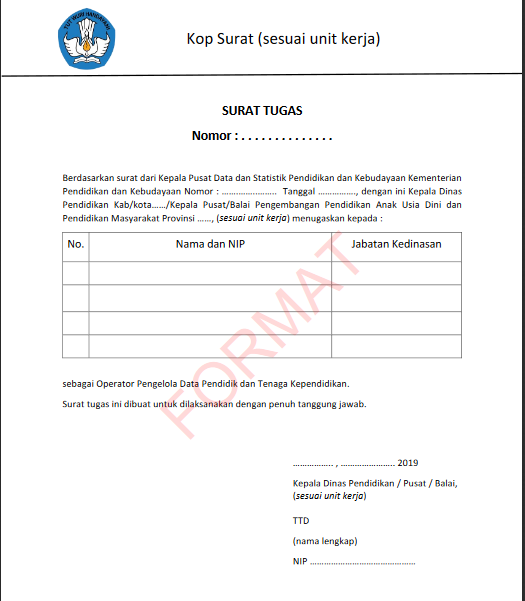 Contoh Format Surat Penugasan sebagai Pengelola Data Pendidik dan Tenaga Kependidikan