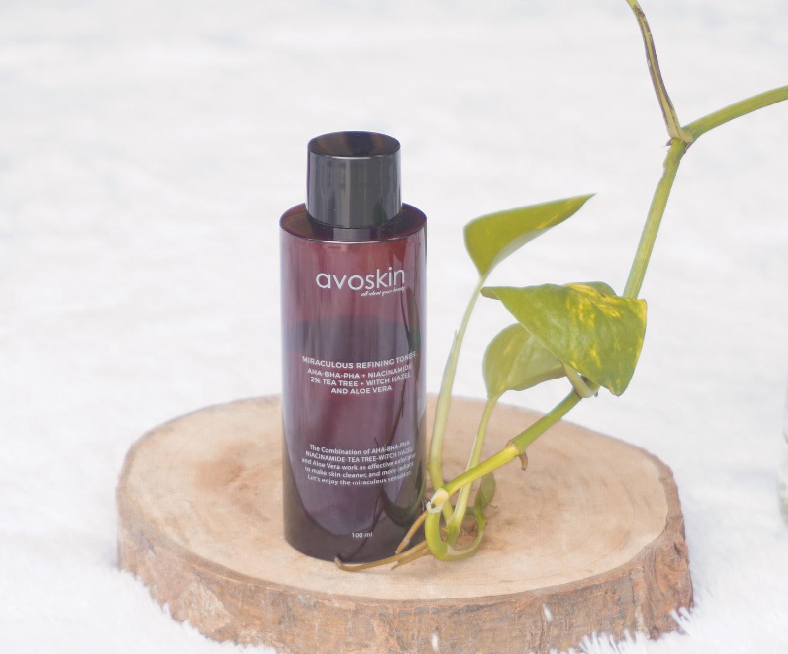 review miraculous Refining toner Avoskin, review avoskin exfoliating toner, produk exfoliating toner avoskin,