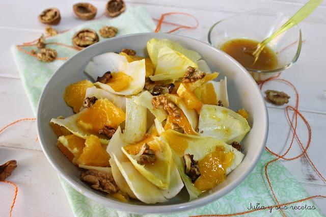 Ensalada de endivias con vinagreta de mostaza y miel. Julia y sus recetas