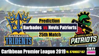 CPL 2019 Nevis Patriots vs Barbados 25th Match Prediction Today