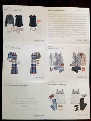 Stitch Fix #22 Review - June/July 2016 - Style Card
