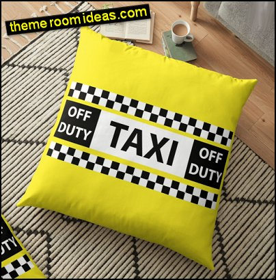 New York Yellow Taxi Cab Fun Off Duty Checkerboard Floor Pillow
