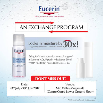 Free Eucerin AQUAPorin Mist Spray Exchange Program