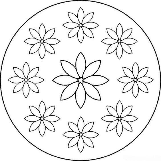 Tranh tô màu hình tròn trang trí họa tiết hoa