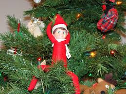 Cheeky Xmas elf sitting in a Xmas tree