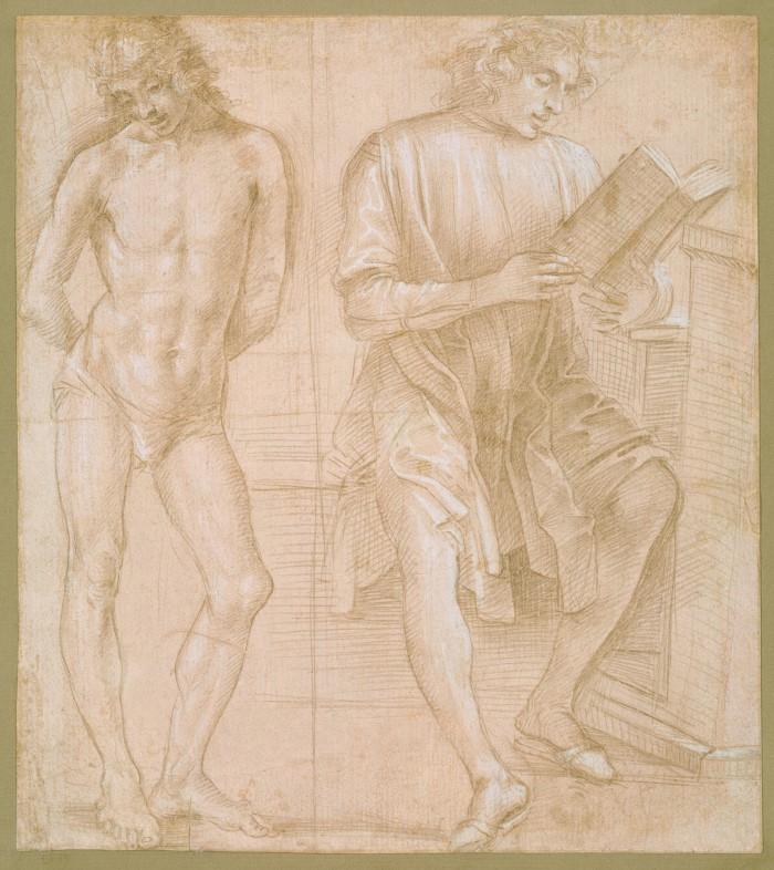 Стоящий юноша с руками за спиной и сидящий юноша, читающий