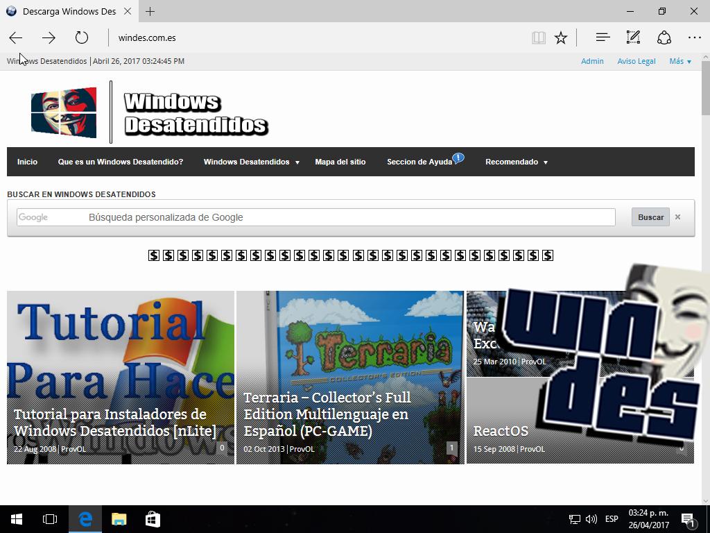 Windows 10 Desatendido Pro Super Lite 2017 Anniversary (1 Link Mega