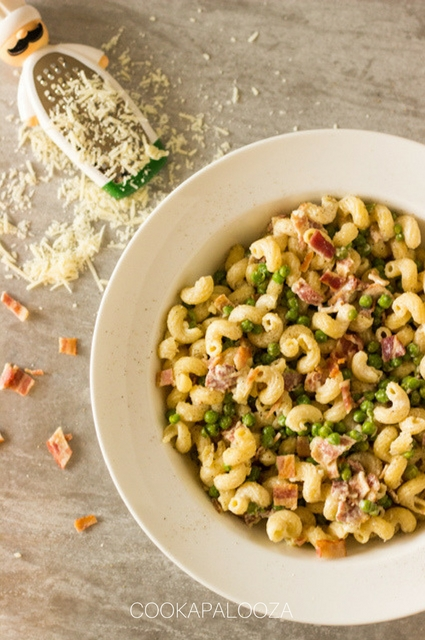Creamy Parmesan Pasta with Crisp Bacon and Peas