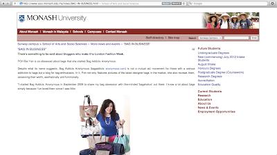 Bag Addicts Anonymous on Monash University (Malaysia)'s SASS Website Poh Bei Yan