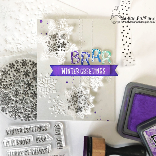 Winter Greetings! Snowflake Card by Samantha Mann | Snowfall Roundabout Stamp Set, Banner Trio Die Set, Snowfall Stencil, Beautiful Blizzard Stamp Set and coordinating die set and Essential Alphabet Die Set by Newton's Nook Designs #newtonsnook #handmade