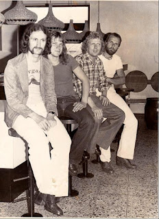 Necronomicon 1976 from left to right Walter Sturm (Gitarre, Gesang) Bernd Oppitz (Bass) Dieter Ose (Keyboards, Gitarre, Gesang) Harald Bernhard (Schlagzeug, Percussion)