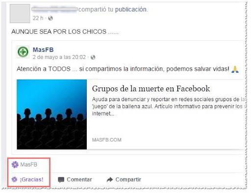 Reacción Gracias en Facebook - MasFB