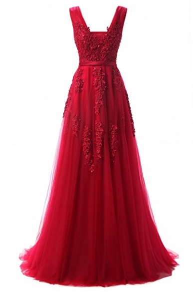 Gorgeous Red V-neck Long Evening Cocktail gown - Red prom dresses 2018