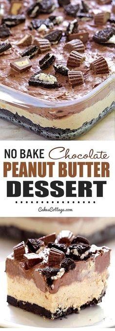 No Bake Chocolate Peanut Butter Dessert