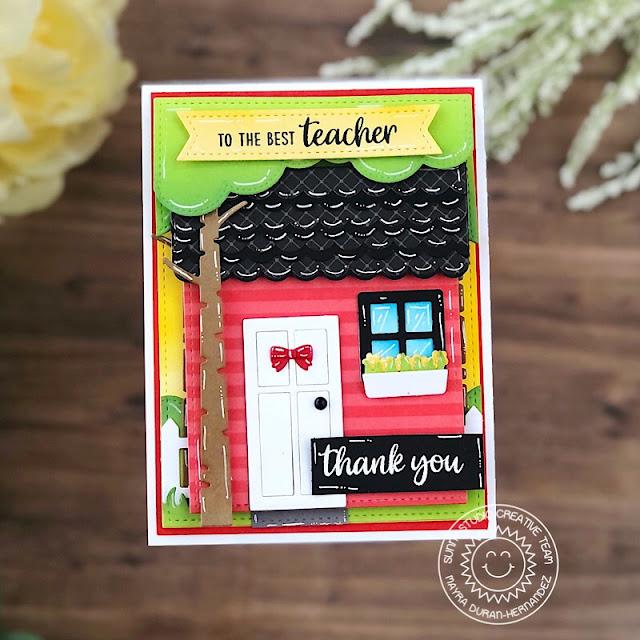 Sunny Studio Stamps: Teacher Appreciation Sweet Treat House Add-on Dies Slimline Dies Teacher Card by Mayra Duran-Hernandez